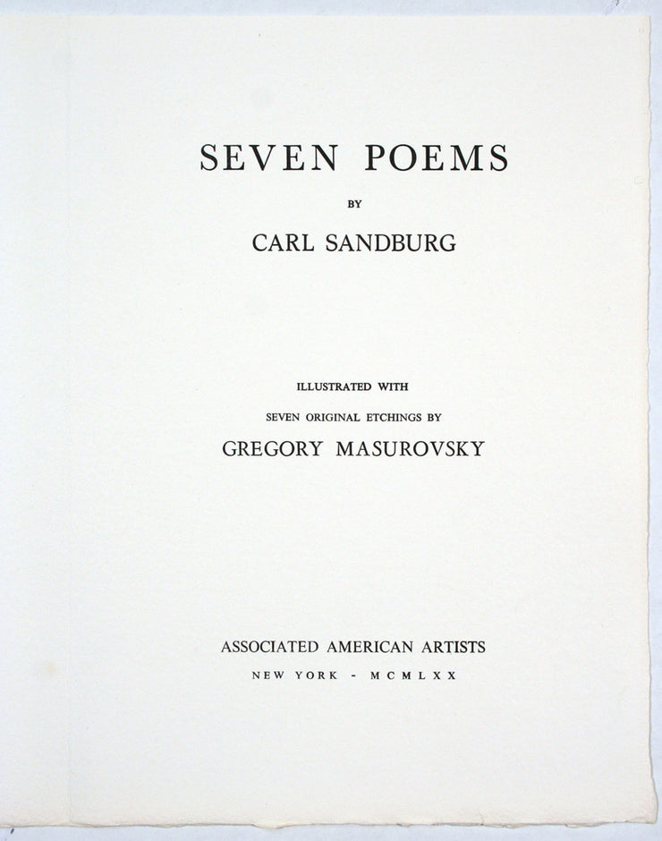 Seven Poems by Gregory Masurovsky - Davidson Galleries