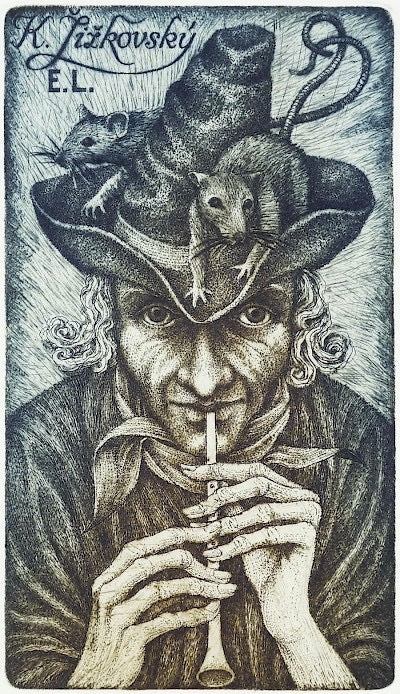 Pied Piper (Ex Libris) by Peter Melan - Davidson Galleries