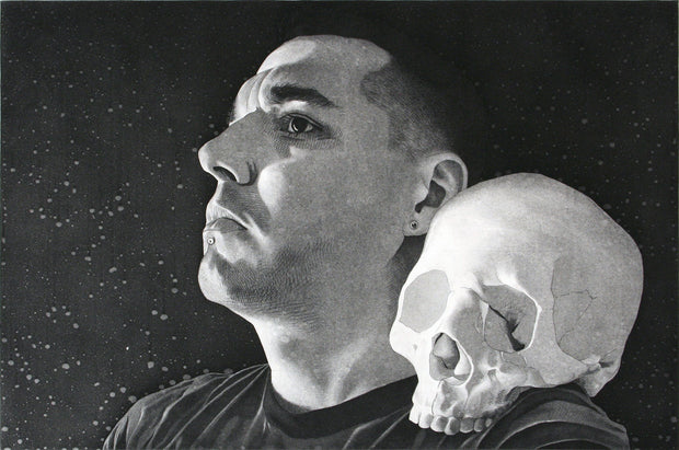 Self Portrait with Skull on Shoulder by Ben Moreau - Davidson Galleries