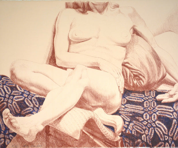 Girl on Blue Coverlet by Philip Pearlstein - Davidson Galleries