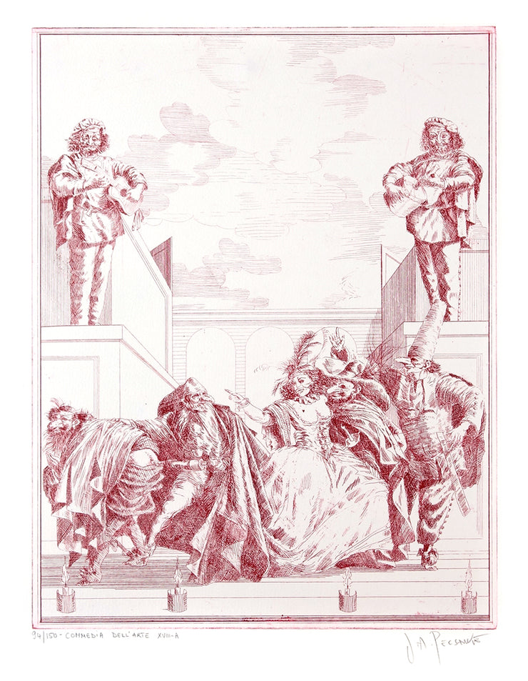 """Les Fantasies"" Vita et Historia del Commedia dell'Arte (Complete set of 24 plates) by Joe A. Pecsenke - Davidson Galleries"