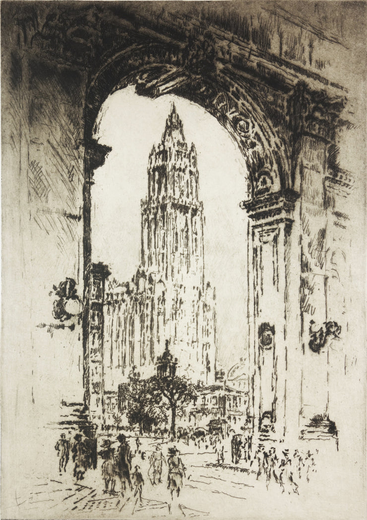 The Woolworth, Through the Arch by Joseph Pennell - Davidson Galleries
