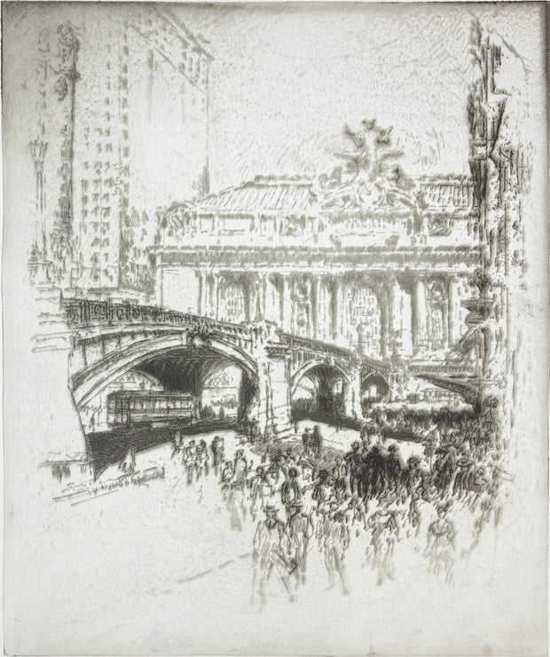 Approach To Grand Central Station, New York by Joseph Pennell - Davidson Galleries