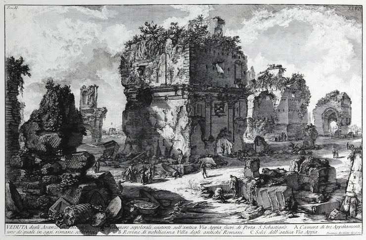 Veduta degli Avanzi di alcune Camere Sepolcrali, esistenti sull'antica Via Appia... (View of the Remains of Several Tomb Chambers on the Ancient Appian Way outside Porta San Sebastiano) by Giovanni Battista Piranesi - Davidson Galleries