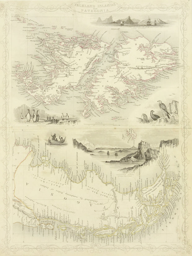 Map and Views of the Falkland Islands and Patagonia by Maps, Views, and Charts - Davidson Galleries