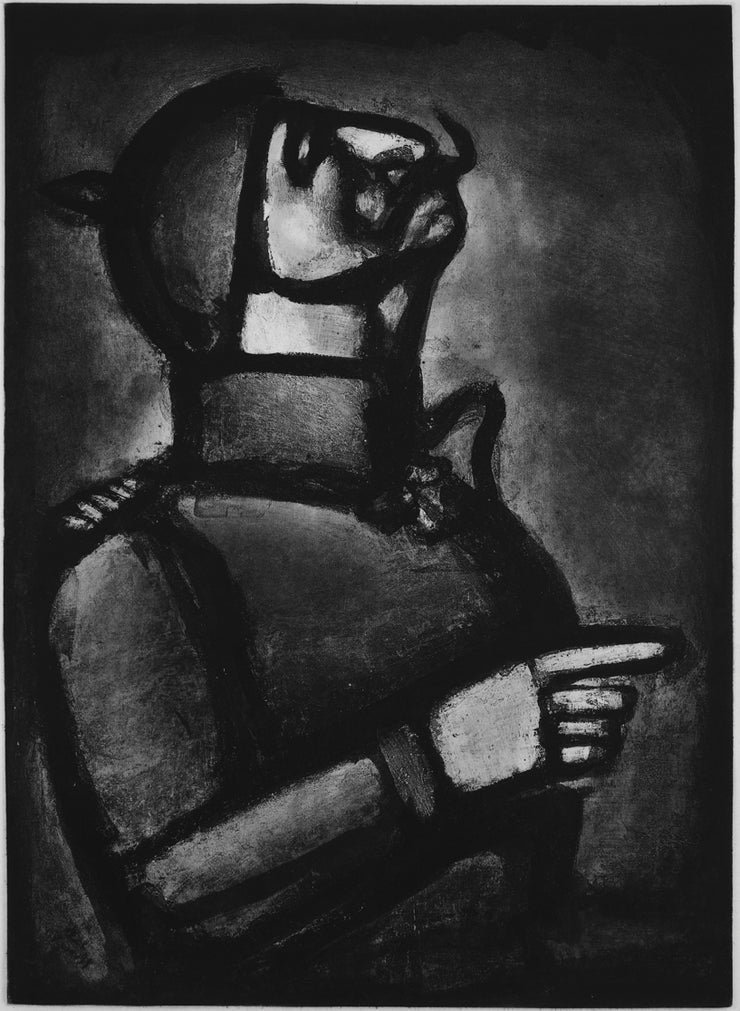 Plate 49. Plus le cœur est noble, moins le col est roide. (The nobler the heart, the less stiff the collar.) by Georges Rouault - Davidson Galleries