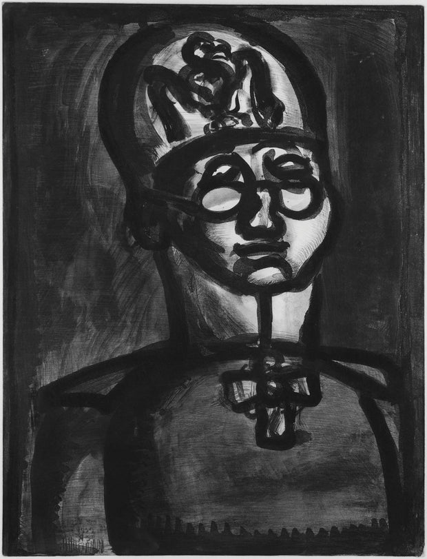 Plate 51. Loin du sourire de Reims. (Far from the smile of Rheims.) by Georges Rouault - Davidson Galleries