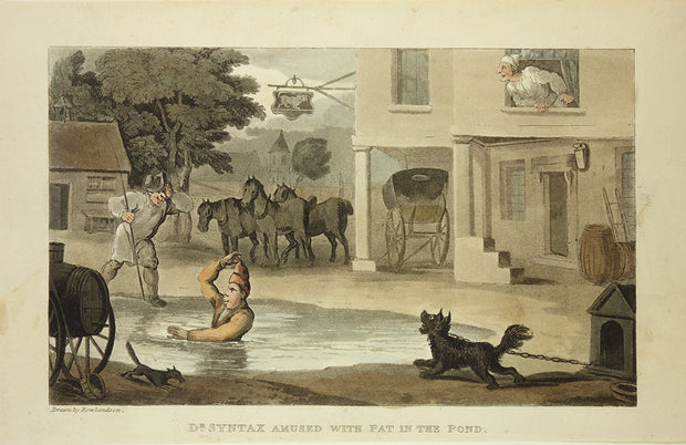 Dr. Syntax Amused with Pat in the Pond by Thomas Rowlandson - Davidson Galleries