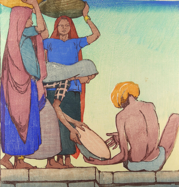 Turbaned Man, Three Women with Baskets by Mable A. Royds - Davidson Galleries