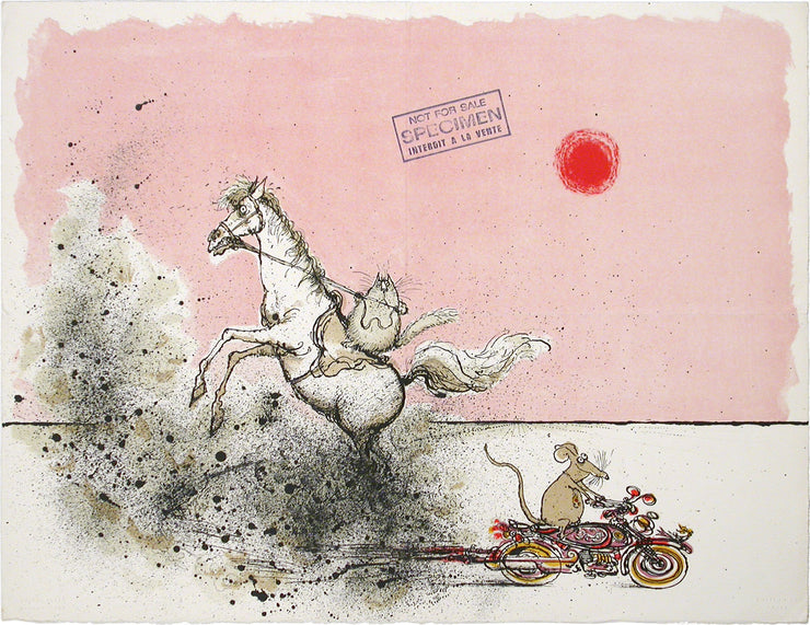 Title Not Known (Cat Riding Horse) by Ronald Searle - Davidson Galleries