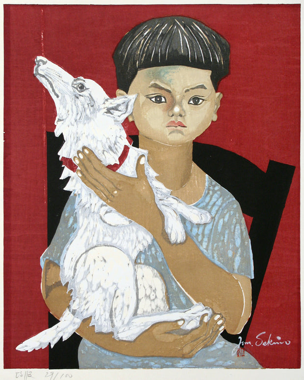 Boy with Dog by Jun'ichiro Sekino - Davidson Galleries