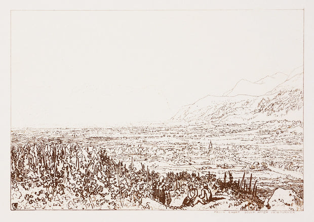 Chain of Alps from Grenoble to Chamberi by Sir Frank Short - Davidson Galleries