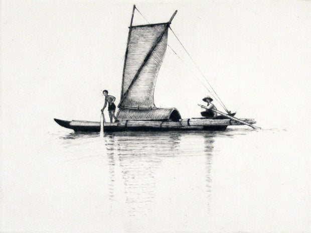 Chinese Boat with Two People (square, white background) by Arne Bendik Sjur - Davidson Galleries