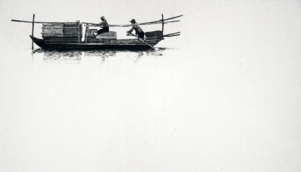 Chinese Boat with Two People (large, white background) by Arne Bendik Sjur - Davidson Galleries