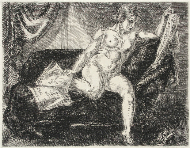 Nude and Newspapers by John Sloan - Davidson Galleries