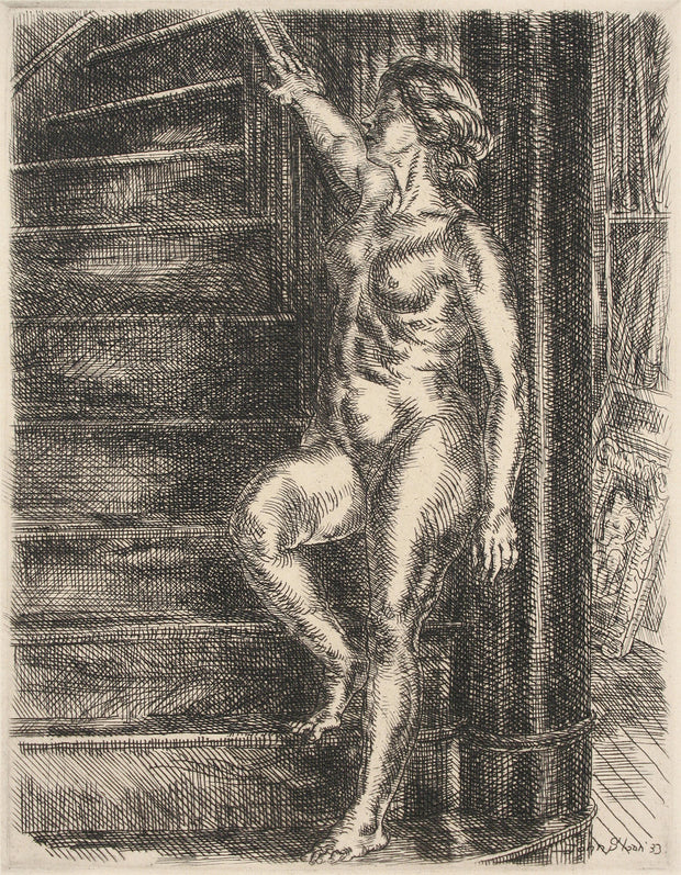 Nude Standing on Stairway by John Sloan - Davidson Galleries