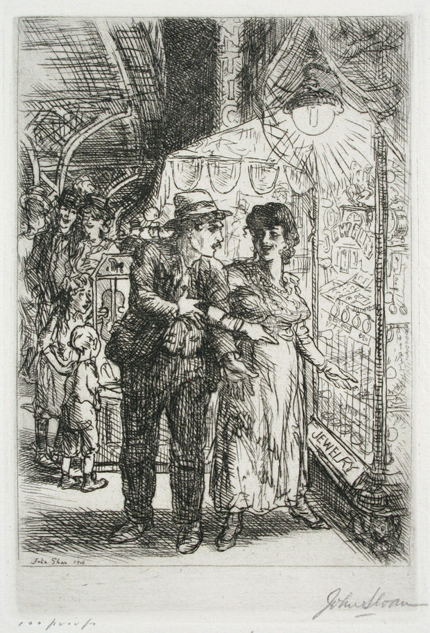 Jewelry Store Window (Carlotta's Indecision) by John Sloan - Davidson Galleries