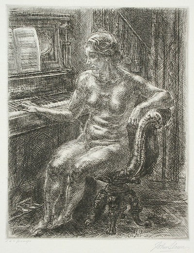 Nude at the Piano by John Sloan - Davidson Galleries