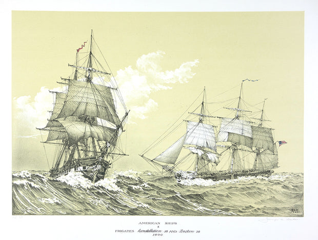 American Ships X (Frigates Constellation 38 and Boston 28, 1800) by George C. Wales - Davidson Galleries