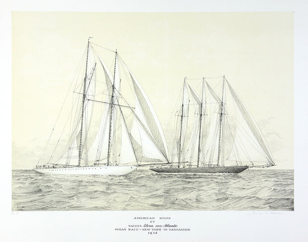 American Ships XV (Yachts Elena and Atlantic Ocean Race - New York to Santander, 1928) by George C. Wales - Davidson Galleries