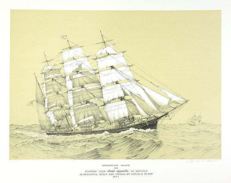 American Ships XII (Clipper Ship Great Republic of Boston As Designed, Built and Owned by Donald McKay, 1853) by George C. Wales - Davidson Galleries