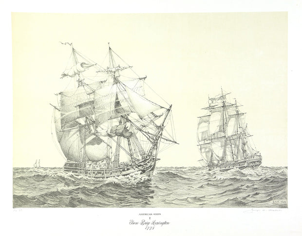 American Ships I (Gun Brig Lexington, 1775) by George C. Wales - Davidson Galleries