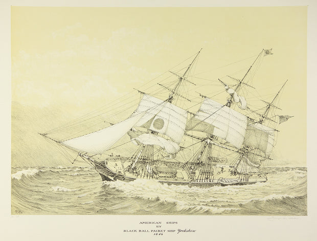 American Ships XIV (Black Ball Packet Ship Yorkshire, 1846) by George C. Wales - Davidson Galleries