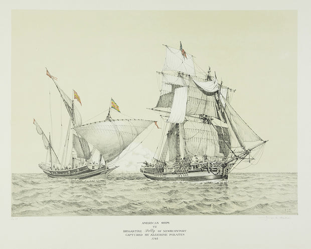 American Ships VII (Brigantine Polly of Newburyport captured by Algerine Pirates, 1793) by George C. Wales - Davidson Galleries