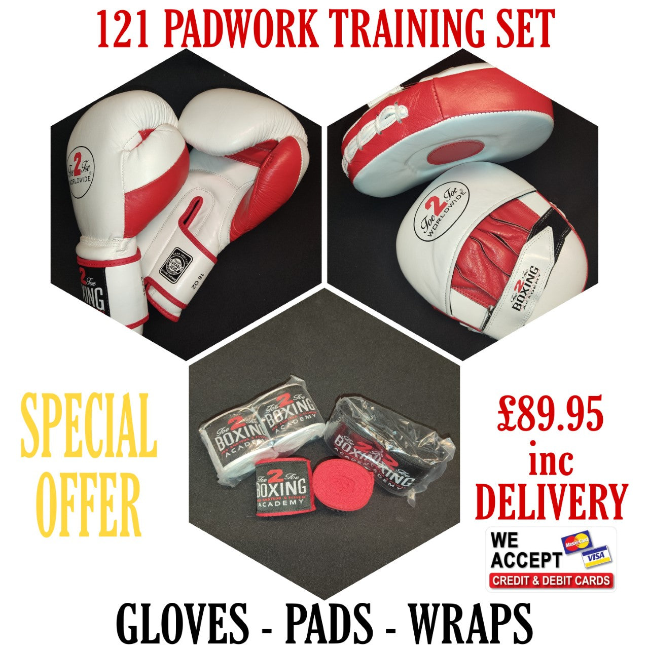 COACH & STUDENT BOXING SET, 16oz GLOVES, WRAPS FOCUS PADS