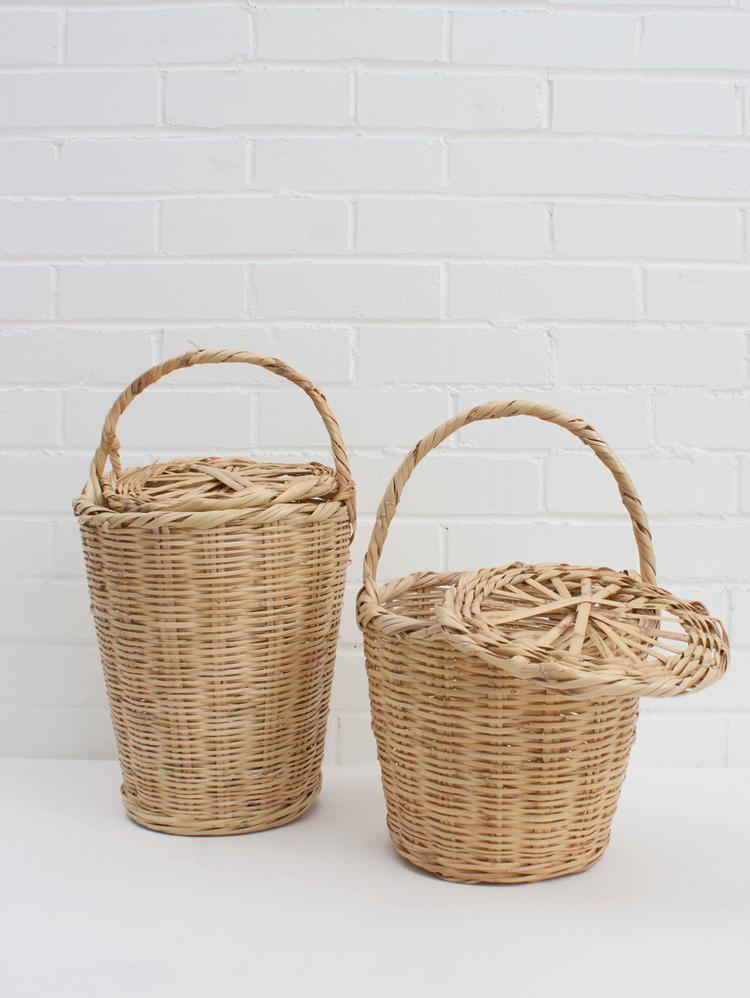 Woven Basket with Lid, Basket Bag - Grace Gordon
