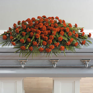 Casket spray carnations