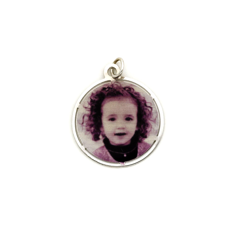 BLACK & WHITE PHOTO CHARM NECKLACE