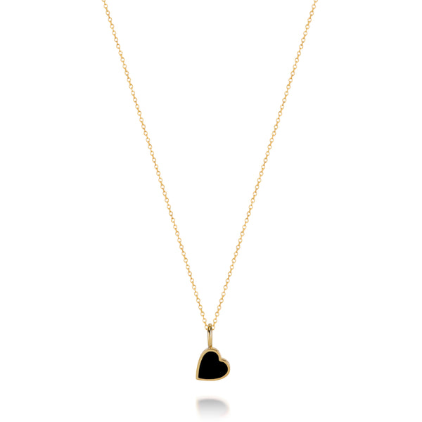 LOVE COUNT ® ENAMEL HEART NECKLACE-BLACK