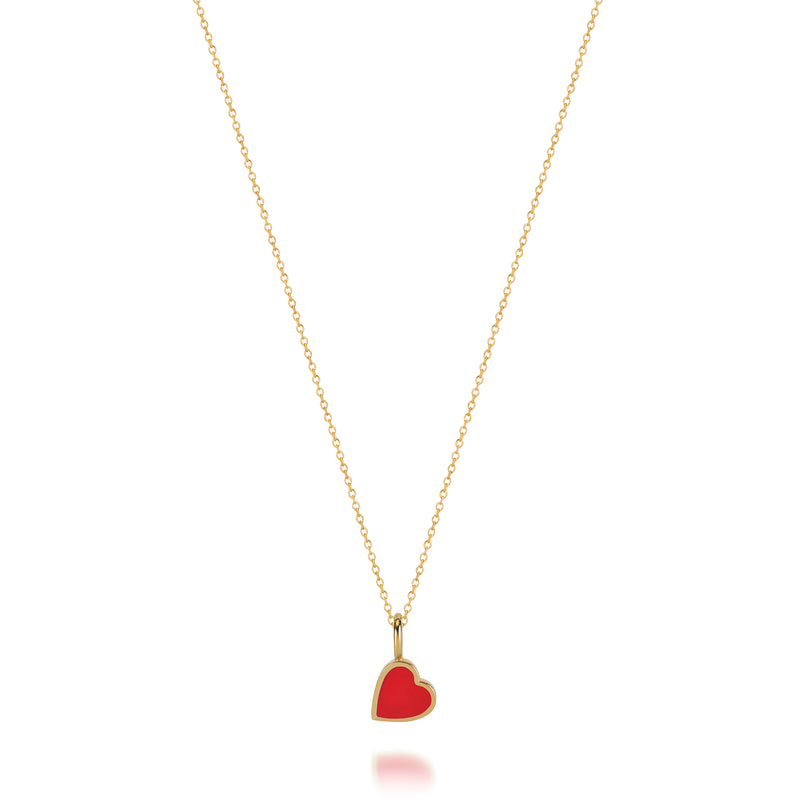 LOVE COUNT ® ENAMEL HEART NECKLACE-RED