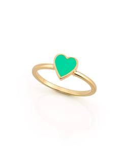 LOVE COUNT ® ENAMEL STACKABLE HEART RING-GREEN
