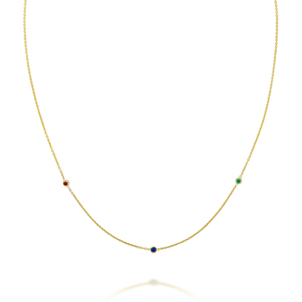 SLDA TRIO CUSTOM BIRTHSTONE NECKLACE