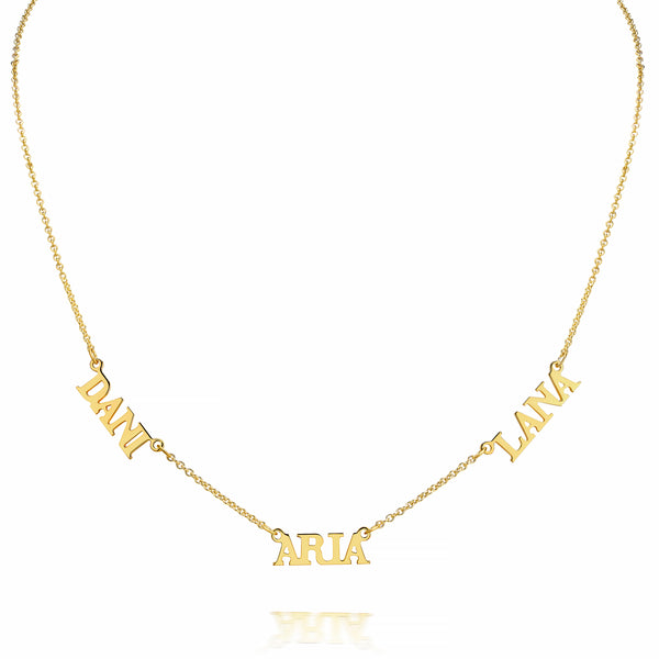 AVA MULTI UPPERCASE BLOCK SERIF NECKLACE