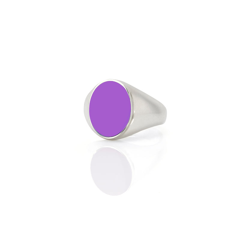 IVY ENAMEL SIGNET RING-PURPLE