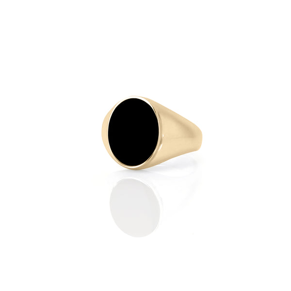 IVY ENAMEL SIGNET RING-BLACK