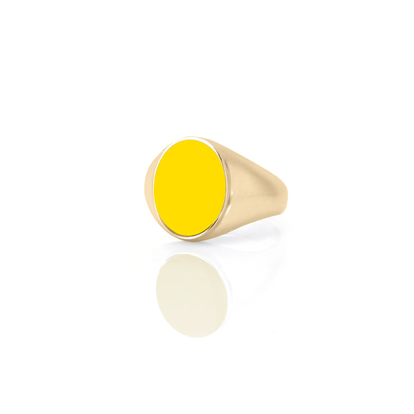 IVY ENAMEL SIGNET RING-YELLOW