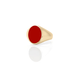 IVY ENAMEL SIGNET RING-RED