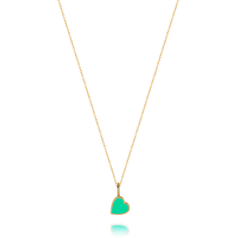 LOVE COUNT ® ENAMEL HEART NECKLACE-GREEN