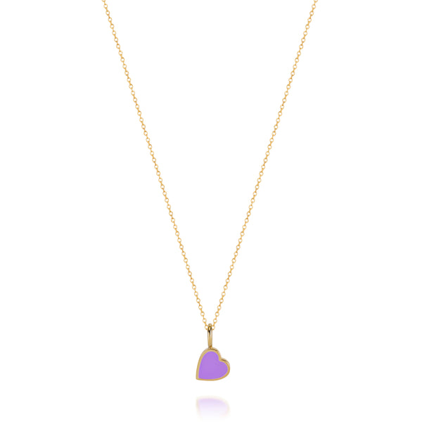 LOVE COUNT ® ENAMEL HEART NECKLACE-PURPLE