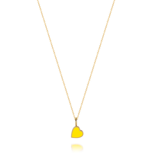LOVE COUNT ® ENAMEL HEART NECKLACE-YELLOW