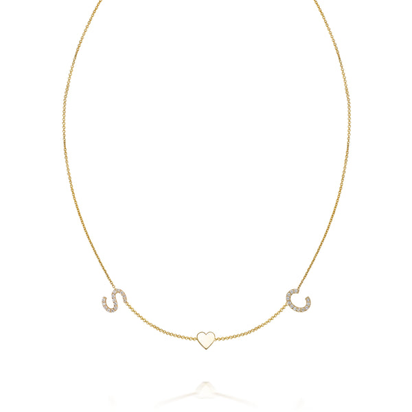 AMELIA DIAMOND DUO HEART NECKLACE