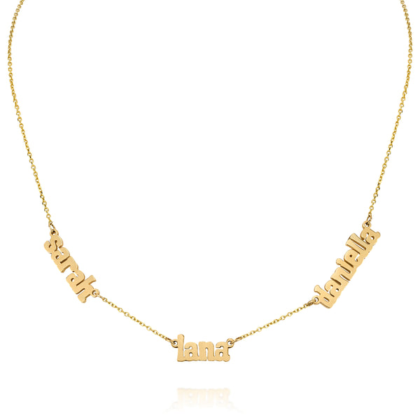 AVA MULTI DAINTY LOWERCASE SERIF NECKLACE