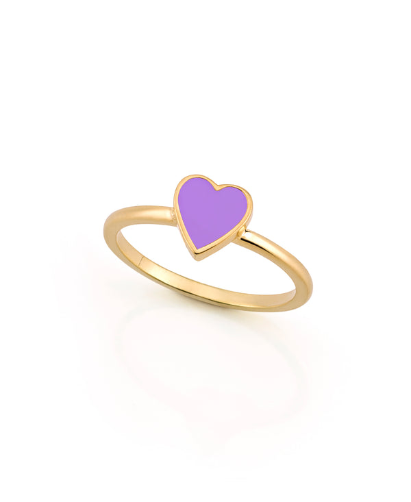 LOVE COUNT ® ENAMEL STACKABLE HEART RING-PURPLE