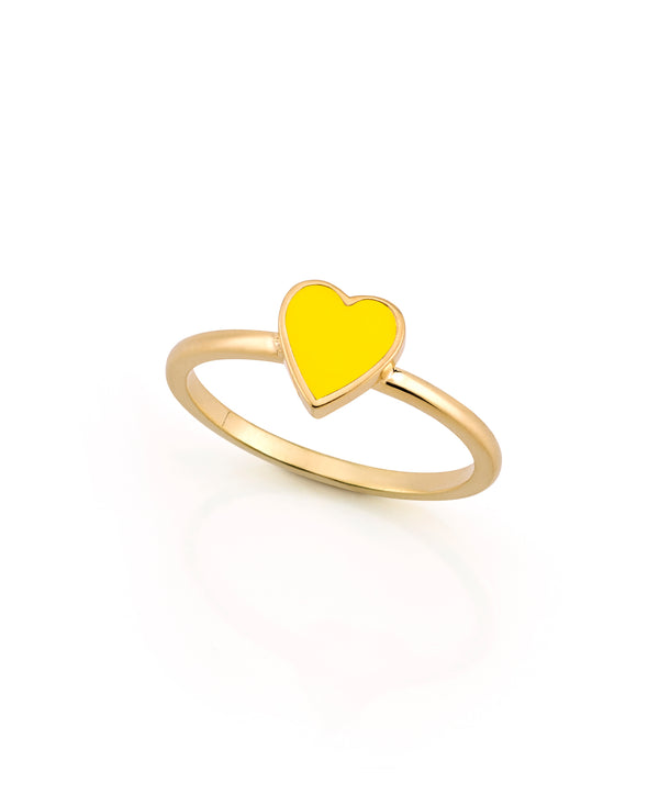 LOVE COUNT ® ENAMEL STACKABLE HEART RING-YELLOW