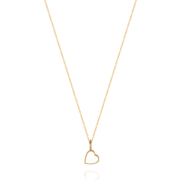 LOVE COUNT ® ENAMEL HEART NECKLACE-WHITE