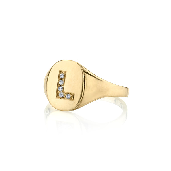 LANA DIAMOND INITIAL SIGNET RING